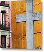 Cross In The City Of Madrid Metal Print