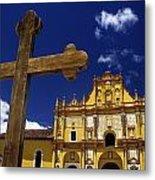 Cross Outside San Cristobal De Las Metal Print