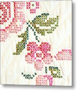 Cross Stitch Flower 1 Metal Print