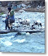 Crossing The Ourika River Metal Print