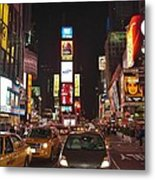 Crossing The Street At Times Square At Night Metal Print