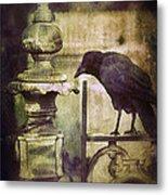 Crow On Iron Gate Metal Print