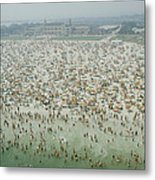 Crowds Of People At Jones Beach Metal Print
