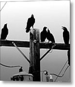 Crows And Insulators On Route 66 Metal Print