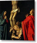 Crucification At Night Metal Print