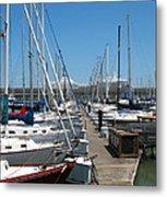 Cruise Ship And Sailboats Pier 39 Metal Print