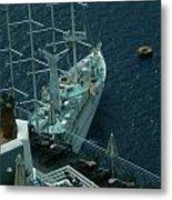 Cruiser In Santorini Island Metal Print