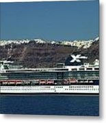 Cruiser Leaving Santorini Island Metal Print