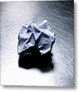 Crumpled Sheet Of White Paper On Stainless Steel. Metal Print