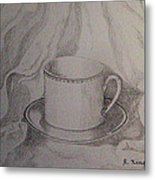 Cup And Saucer On Material Metal Print