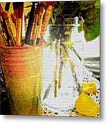 Cup O Brushes Metal Print