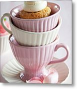 Cupcake On Top Of Stack Of Cups Metal Print