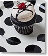 Cupcake With Cherry Metal Print