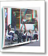 Curb Resting - Red-cyan 3d Glasses Required Metal Print