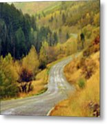 Curve Mountain Road With Autumn Trees Metal Print by Utah-based Photographer Ryan Houston