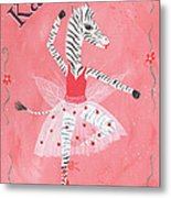 Custom Name Child's Zebra Ballerina Metal Print by Kristi L Randall