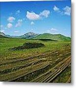 Cut Turf On A Landscape, Connemara Metal Print