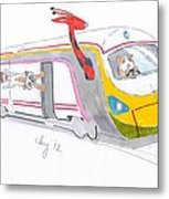 Cute Cartoon High Speed Train And Animals Metal Print