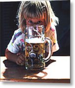 Cute Little Girl At Beer Garden Munich Metal Print
