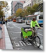 Cycle Rickshaw On Market Street In San Francisco Metal Print