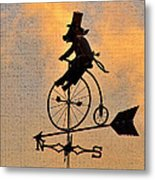 Cycling Pig Metal Print