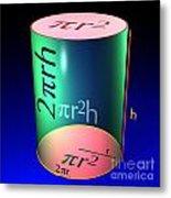 Cylinder Blue Metal Print