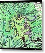 Dada Doodle In Green Metal Print