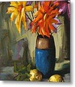 Daisies In Blue Vase Metal Print by Pepe Romero