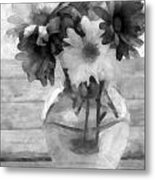 Daisy Crazy Bw Revisited Metal Print