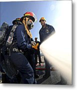 Damage Controlmen Conduct Fire Hose Metal Print