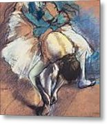 Dancer Fastening Her Pump Metal Print by Edgar Degas