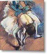 Dancer Fastening Her Pump Metal Print