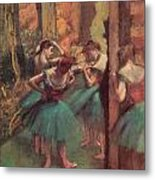 Dancers Pink And Green Metal Print by Edgar Degas