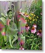 Dancing Girl In Flowers Metal Print