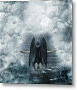 Dark Angel Kneeling On Stairway In The Clouds Metal Print