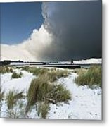 Dark Clouds And Blue Sky Over A Red Metal Print