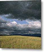 Dark Clouds Gather Over A Prairie Metal Print