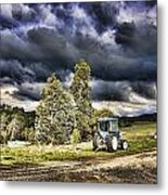 Dark Clouds Over The Farm Metal Print
