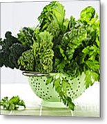 Dark Green Leafy Vegetables In Colander Metal Print