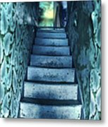 Dark Staircase With Man At Top Metal Print