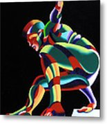 Dave 25-03 - Abstract Geometric Figurative Oil Painting Metal Print