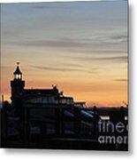 Dawn At Saybrook Dock Metal Print