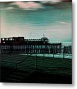 Dawn On The Seafront At Hastings Metal Print