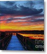 Dawn Skies At The Fishing Pier Metal Print