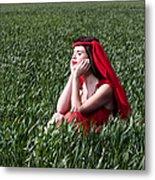 Day Dreams Woman In Red Series Metal Print