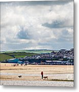 Daymer Bay Beach Landscape In Cornwall Uk Metal Print