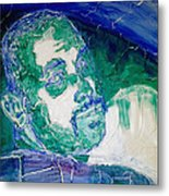 Death Metal Portrait In Blue And Green With Fu Man Chu Mustache And Cracking Textured Canvas Metal Print by M Zimmerman