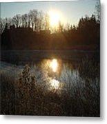 December Sunrise Off Smooth Water Metal Print