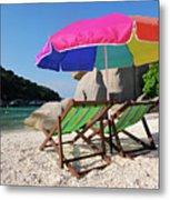 Deck Chairs On A Beach In Thailand Metal Print