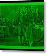 Declaration Of Independence In Green Metal Print by Rob Hans